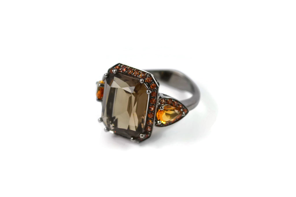 Jennie - Cocktail Ring with Smoky Quartz, Citrines and Orange Sapphires, 18k White Gold with Black Rhodium.