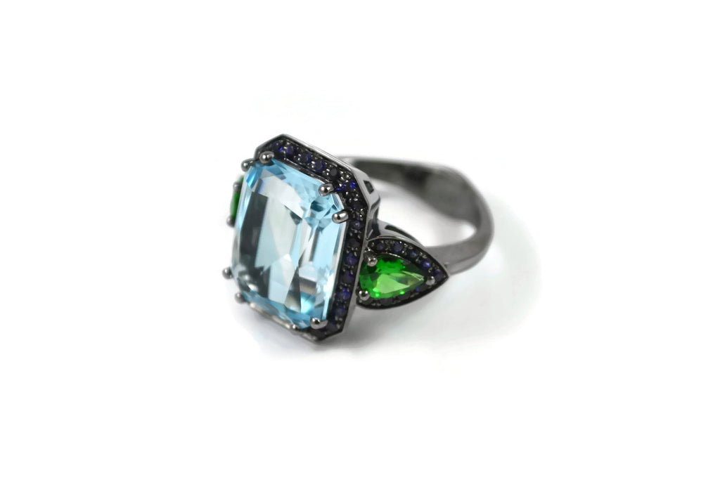 Jennie - Cocktail Ring with Blue Topaz, Tsavorite Garnet and Blue Sapphires, 18k Blackened Gold.