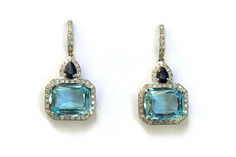 Jennie - Earrings with Blue Topaz, Sapphires and Diamonds, 18k White Gold.