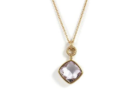 LIVELY-CASUAL-EVERIDAY-STYLE-JEWELRY-A-FURST-JICKY-PENDANT-NECKLACE-WITH-ROSE-DE-FRANCE-LAVENDER-AMETHYST-ROSE-GOLD