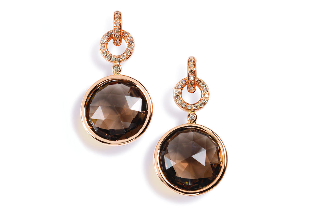 Jicky - Drop Earrings with Smoky Quarzt and Champagne Diamonds, 18k Rose Gold.