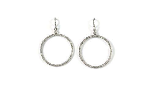 Joie de Vivre - Drop Circle Earrings with Diamonds, 18k White Gold.