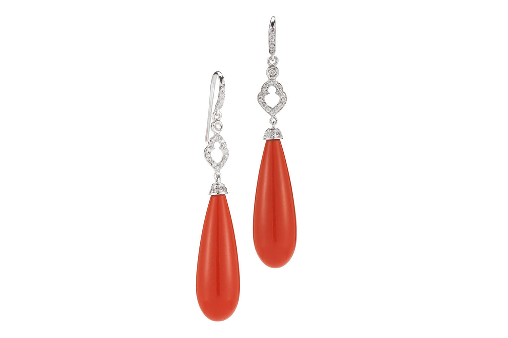 Joie de Vivre - Drop Earrings with Coral and Diamonds, 18k White Gold.