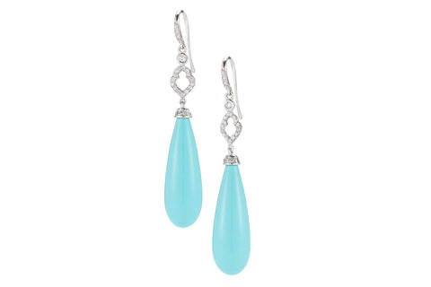 Joie de Vivre - Drop Earrings with Turquoise and Diamonds, 18k White Gold.