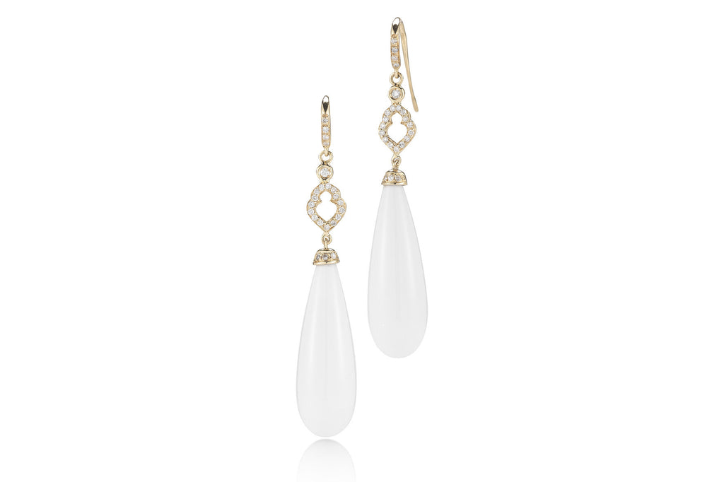 Joie de Vivre - Drop Earrings with White Agate and Diamonds, 18k Yellow Gold.