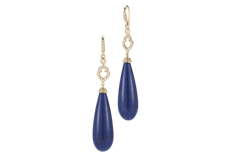 Joie de Vivre - Drop Earrings with Lapis and Diamonds, 18k Yellow Gold.