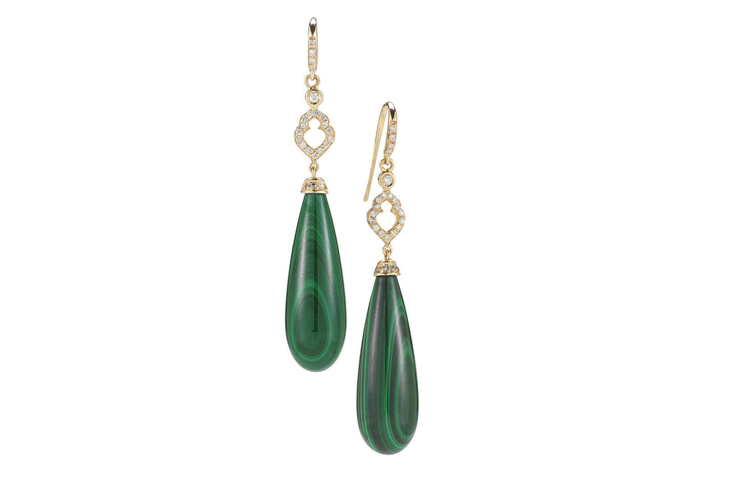 Joie de Vivre - Drop Earrings with Malachite and Diamonds, 18k Yellow Gold.
