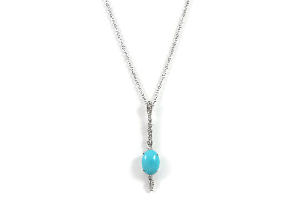 Les Bois - Pendants with Turquoise and Diamonds, 18k White Gold.
