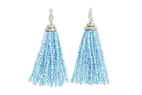 Les Bois - Earrings with Aquamarine and Diamond beads, 18k White Gold.