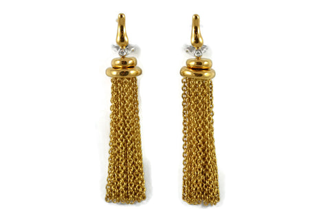 Les Bois - Earrings with Tassels Chain and Diamonds, 18k Yellow Gold.