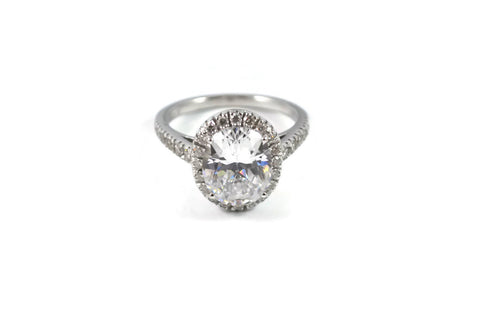 Le Grand Magnifique - Mounting Ring for Oval-cut Diamond, 18k White Gold.