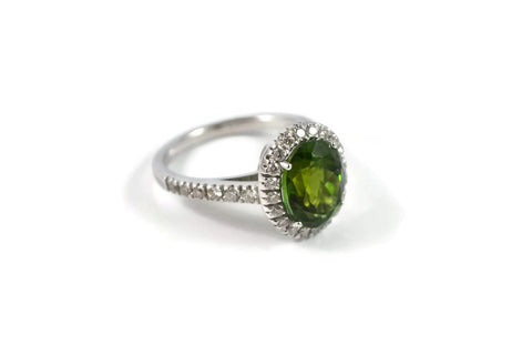 Le Grand Magnifique - Ring with Green Tourmaline and Diamonds, 18k White Gold.
