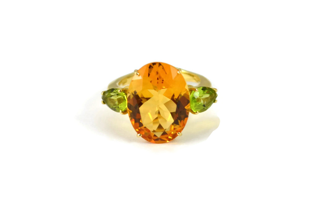 Marrakech - 3 Stones Ring with Citrine and Peridot, 18k Yellow Gold.