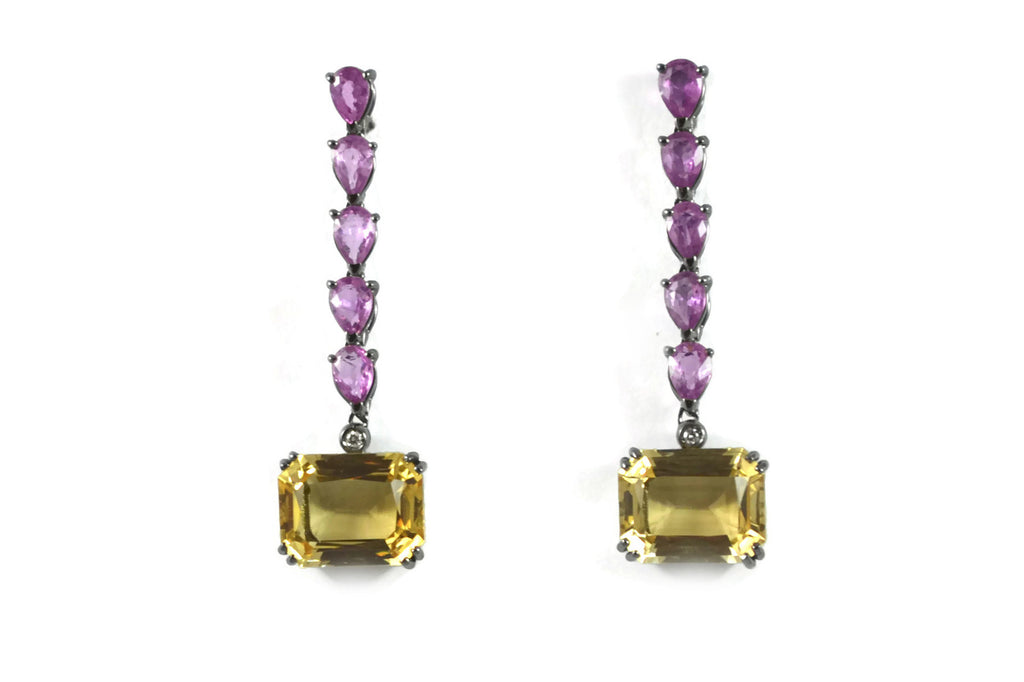 Marrakech - Earrings with Citrines and Pink Sapphires, Diamonds, 18k White Gold with Black Rhodium