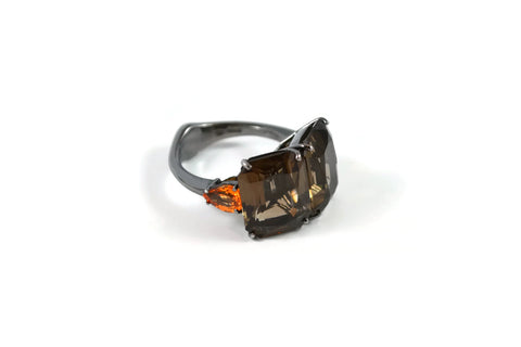 Marrakech - Cocktail Ring with Smoky Quartz and Spessartite (Mandarin) Garnet, 18k White Gold with Black Rhodium.