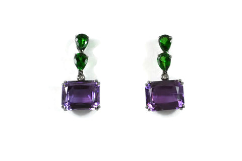 Marrakech - Earrings with Amethyst and Tsavorite Garnet, Diamonds, 18k White Gold with Black Rhodium.