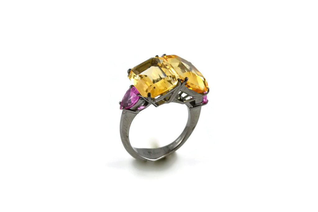 Marrakech - Cocktail Ring with Citrines and Pink Sapphires, 18k White Gold with Black Rhodium