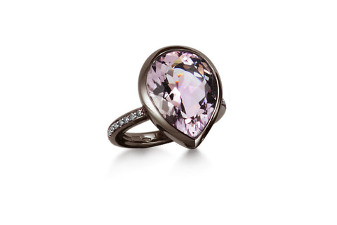 Picnic - Ring with Rose de France and Diamonds, 18k White Gold with Black Rhodium.
