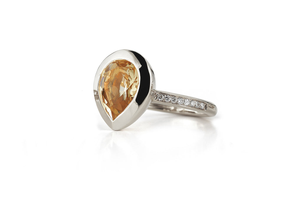 Picnic - Ring with Madera Citrine and Diamonds, 18k White Gold.