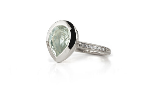 Picnic - Ring with Prasiolite and Diamonds, 18k White Gold.