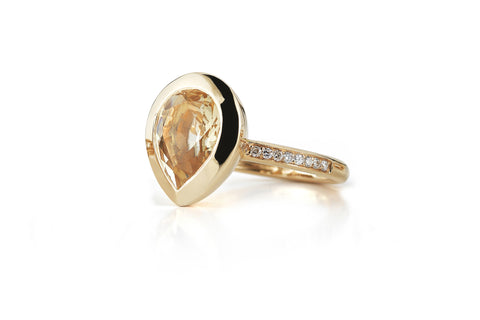 Picnic - Ring with Citrine and Diamonds, 18k Rose Gold