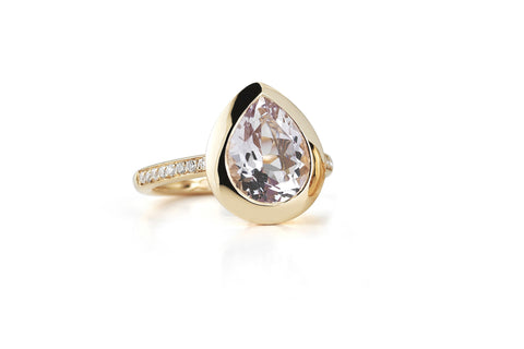 Picnic - Ring with Rose de France and Diamonds, 18k Rose Gold