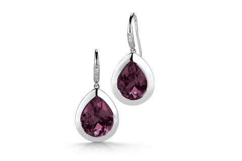 Picnic - Earrings with Rhodolite Garnet and Diamonds, 18k White Gold.