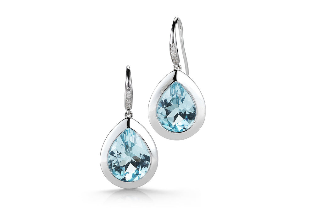 Picnic - Earrings with Blue Topaz and Diamonds, 18k White Gold
