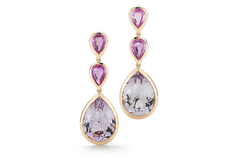 Picnic - Drop Earrings with Rose de France and Pink Sapphires, 18k Rose Gold.