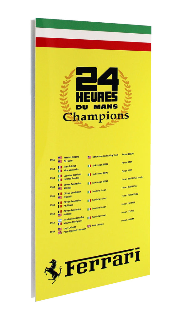Ferrari 24 Hours Lemans Drivers Champions Metal Sign