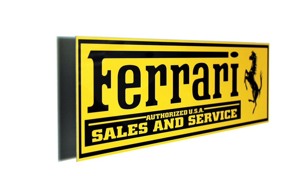 Ferrari Sales and Service Metal Sign, Banner Style