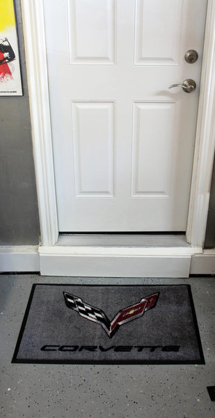 Corvette C7 Crossed Flags Floor Door Mat