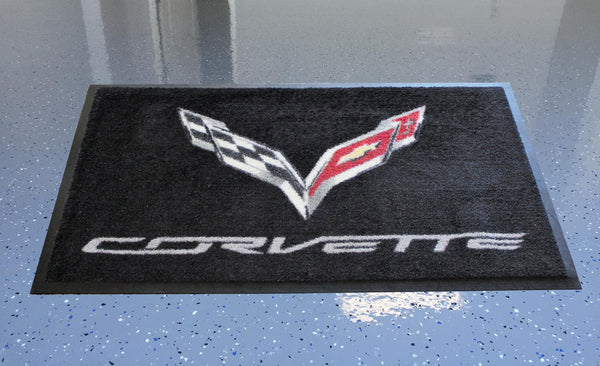 Corvette C7 Crossed Flags Floor Door Mat, Black