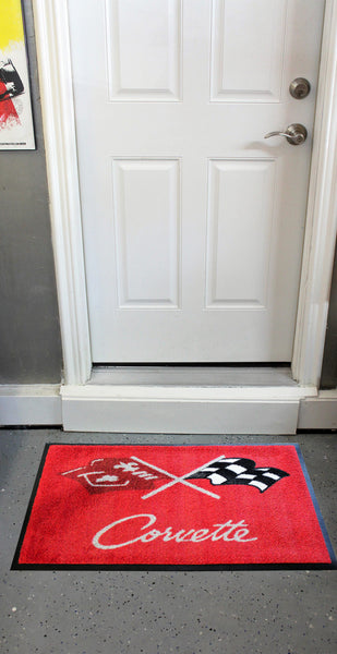 Corvette C3 Crossed Flags Floor Door Mat