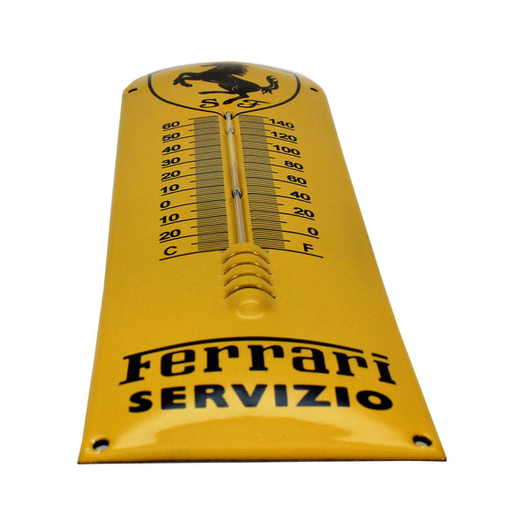 Ferrari Enamel Thermometer Shield Porcelain Sign