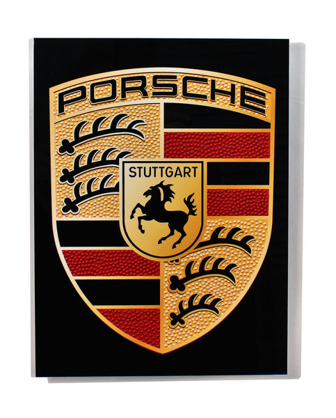 Porsche Emblem Crest Black BG Metal Sign