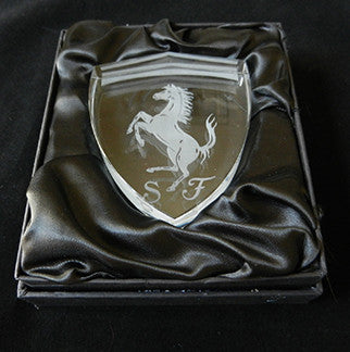 Crystal Rampante Ferrari Shield Paperweight 2