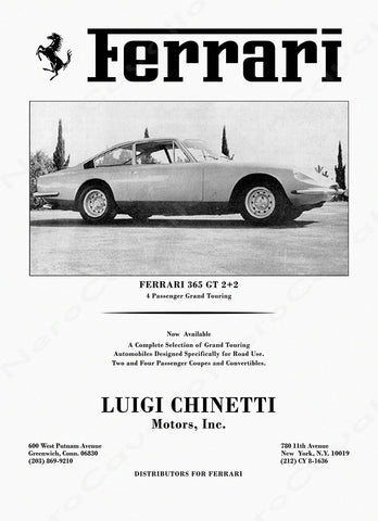 Chinetti Motors 1969 Advertisement Ferrari 365GT 2+2