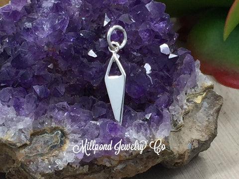 Diamond Dangle with Triangle Cut Out, Sterling Silver Dangle, Jewelry Making Supplies, Jewelry Findings