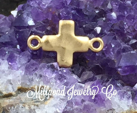 Cross Charm, Cross Link, Tiny Cross Link, Cross Charm, Gold Plated Cross, Gold Plated Sterling Silver Charm, PG0186