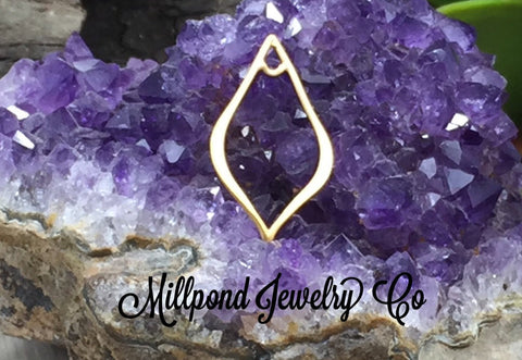 Teardrop Link, Small Pointed Teardrop Link, Gold Teardrop Link, Gold Plated Sterling Silver Charm, Small Size, PG0188