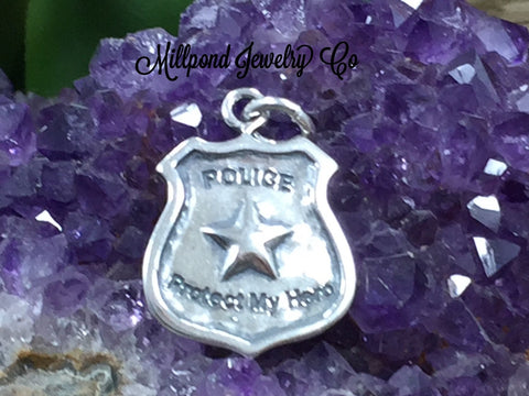 Police Shield Charm, Police Charm, Sterling Silver Charm, Sterling Silver Pendant