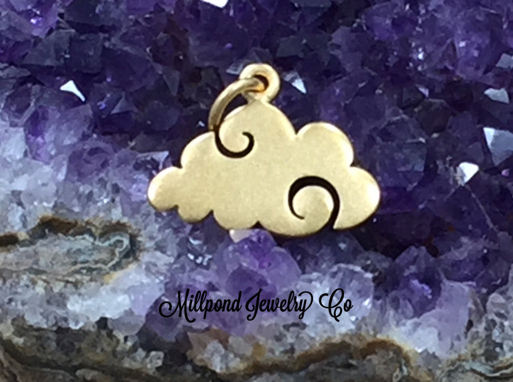 Cloud Charm, Flat Cloud, Sky Charm, Rain Cloud, Weather Charm, Gold Plated Sterling Silver Charm, PG0194