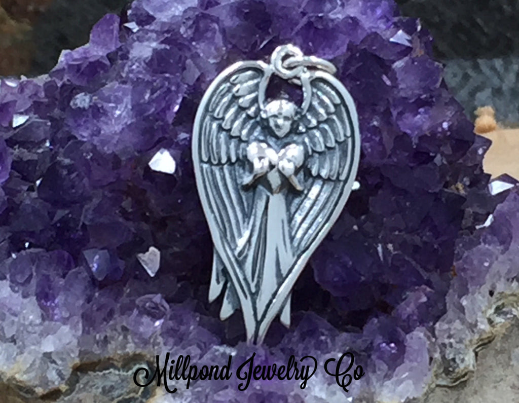 Angel Holding Heart Charm, Angel Charm, Faith Charm, Religious Charm, Christian Charm, Sterling Silver, PS01635