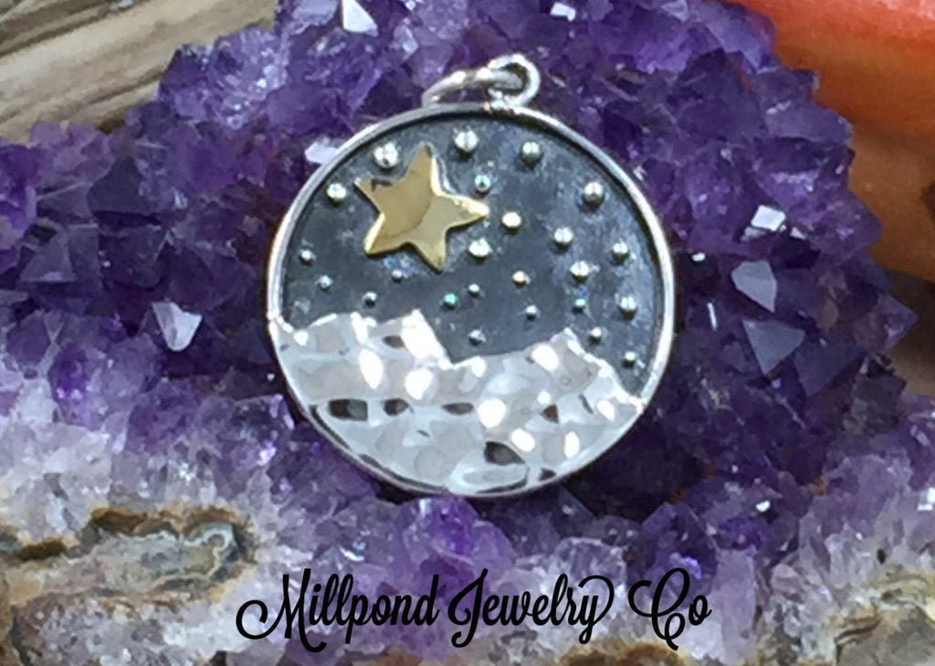 Mountain Charm with Bronze Star, Mountain Charm, Outdoors Charm, Sterling Silver Charm, Sterling Silver Pendant, PS01665