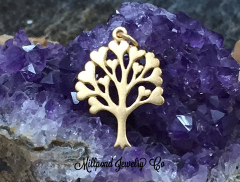 Gold Charm, Tree With Hearts Charm, Tree of Love Charm, Family Tree Pendant, Family Tree Charm, Gold Plated Sterling Silver, PG0195