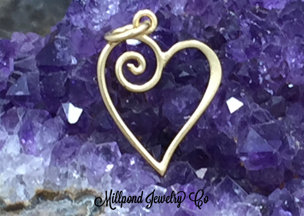 Wire Heart with Swirl Charm, Small Heart Charm, Tiny Heart Charm, Gold Plated Sterling Silver Heart Charm, PG0197