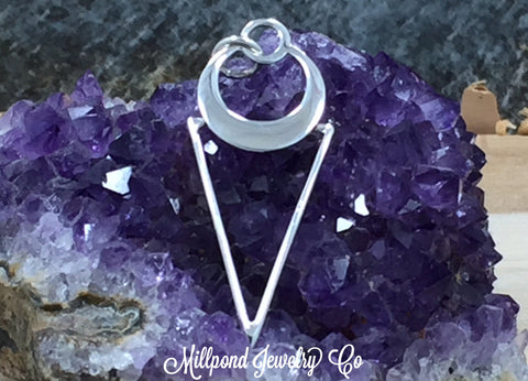 Triangle Pendant, Triangle Charm, Wire Triangle Dangle, Geometrical Triangle Charm, Sterling Silver, PS01619