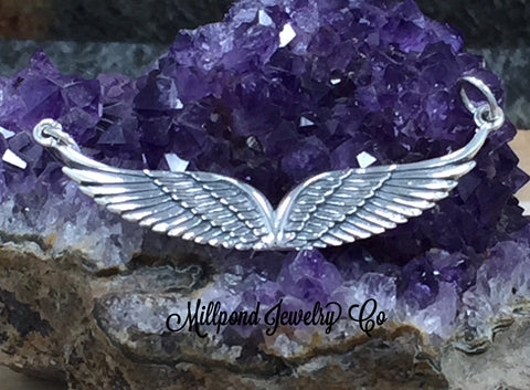 Angel Wing Charm, Angel Wing Connector, Angel Wing Pendant, Feather Charm, Feather Pendant, Sterling Silver, PS01639