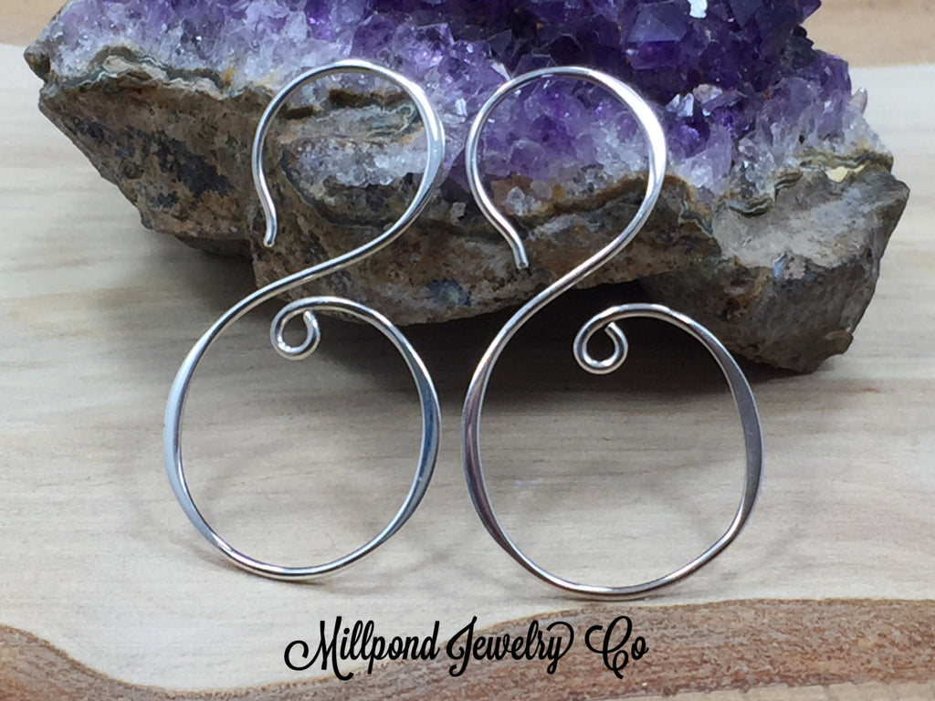 Earrings, Ear Wires, Swirl Earrings, Sterling Silver Ear Wires, Jewelry Making Supplies, Jewelry Findings, 1 Pair, PS01685